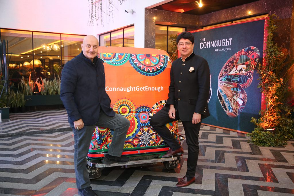 Mr. Puneet Chhatwal and Anupam Kher inside Auto Unveiling The Connaught New Delhi in the presence of VIPs and celebrities
