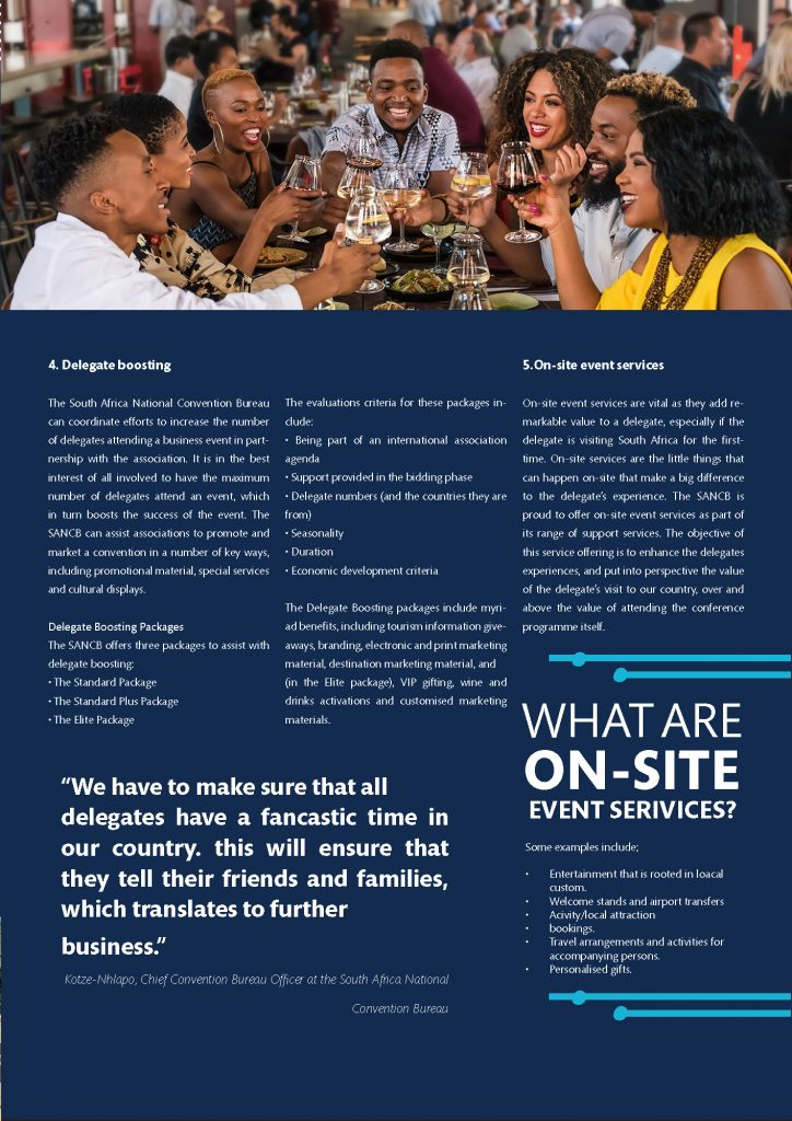 South Africa National Convention Bureau Support Services Brochure Page 3 South African Tourism plans Re-emergence of MICE with corporate travel decision-makers