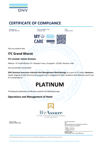 Bharat ITC Hotels first hotel chain in the world to receive PLATINUM certification under DNV's My Care Infection risk