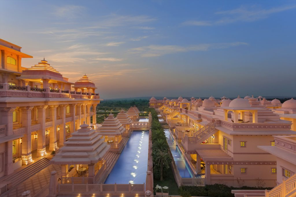 Facade shot of Ghats of Yamuna at ITC Grand Bharat Gurugram ITC Hotels first hotel chain in the world to receive PLATINUM certification under DNV's My Care Infection risk