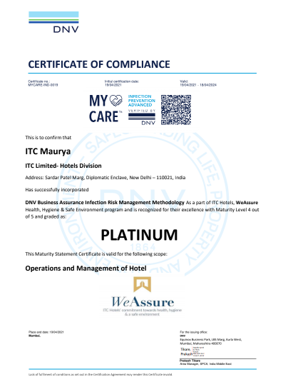 Maurya ITC Hotels first hotel chain in the world to receive PLATINUM certification under DNV's My Care Infection risk