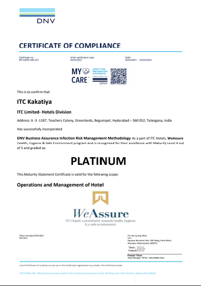 kakatia ITC Hotels first hotel chain in the world to receive PLATINUM certification under DNV's My Care Infection risk