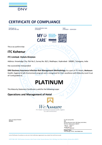 kohenur ITC Hotels first hotel chain in the world to receive PLATINUM certification under DNV's My Care Infection risk