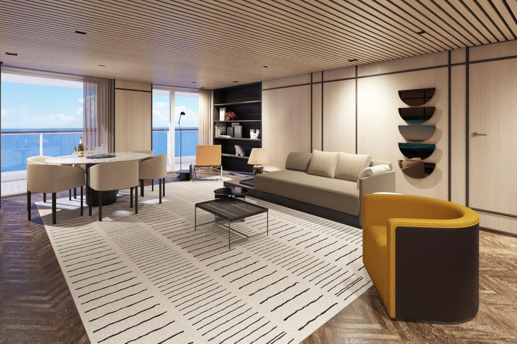 norwegianprima thehavendeluxeowner039ssuitewithlargebalcony h2 livingroom rendering Norwegian Cruise Line unveils Norwegian Prima with sensational 2022-23 itineraries