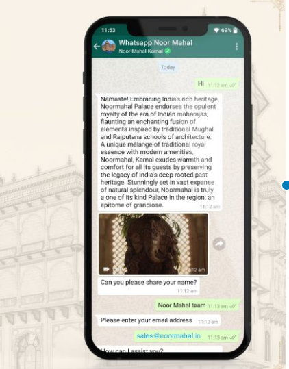 Whatsapp chatbot Noormahal Riding on new technologies Noor Mahal aims to boost guest confidence amid Covid 19 pandemic
