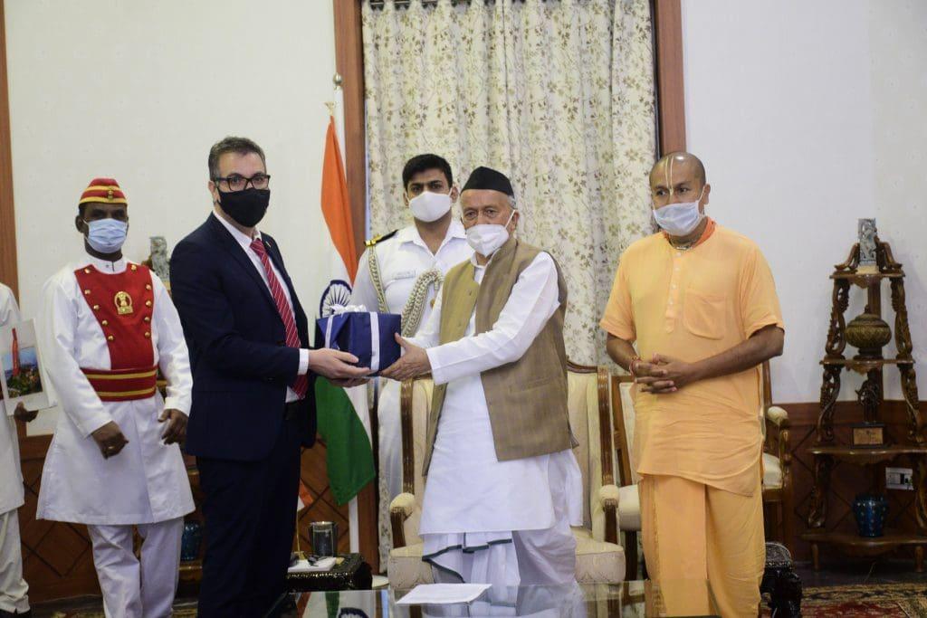 Sammy Yahia, along with Govardhan Eco Village's Director, Shri Gauranga Das Prabhu met with  the Honourable Shri Bhagat Singh Koshyari, Governor of Maharashtra