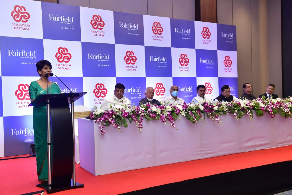 2. Ranju Alex Market Vice President– West India Marriott Hotels India Pvt. Ltd addresses people at the launch of Fairfield by Marriott Benaulim in presence of Goa CM other delegates Fairfield by Marriott expands in India with 144-room new Fairfield by Marriott Goa Benaulim