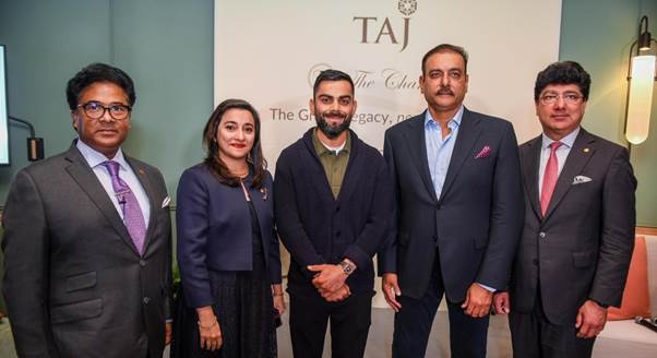 The Chambers - L to R: Prabhat Verma, IHCL, Mehrnavaz Avari, IHCL, Indian Cricketers - Virat Kohli and Ravi Shastri,  with Puneet Chhatwal, MD & CEO- IHCL