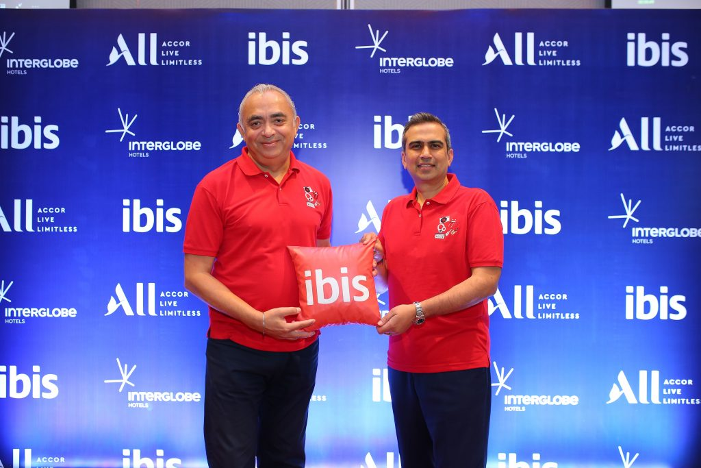 J.B Singh President CEO InterGlobe Hotels along with Puneet Dhawan Senior VP Operations Accor India South Asia at the launch of ibis Mumbai Vikhroli ibis opens its 20th hotel in India - the new generation design- ibis Mumbai Vikhroli