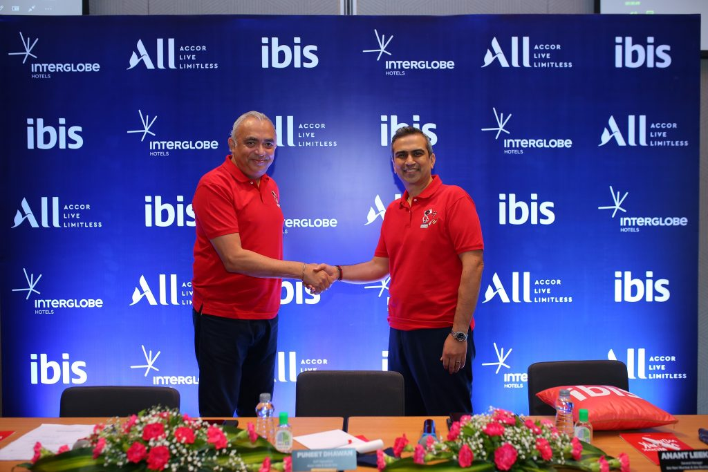 J.B Singh President and CEO InterGlobe hotels along with Puneet Dhawan Senior VP Operations Accor India South Asia at the launch of ibis Mumbai Vikhroli ibis opens its 20th hotel in India - the new generation design- ibis Mumbai Vikhroli